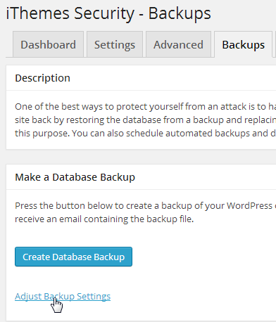 iThemes Security backup tab