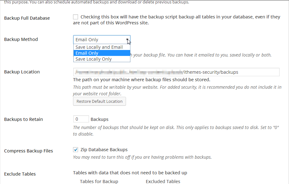 iThemes backup settings
