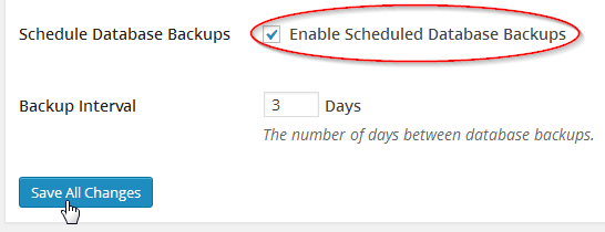 Enable scheduled backups