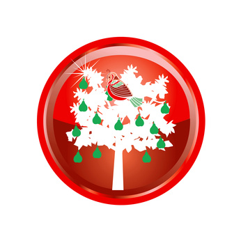 Illustration Card of the 12 days of Christmas buttons.